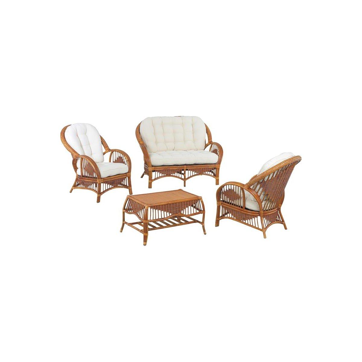 Gartenmöbel, Rattan, 4-teilig, 2-Sitzer-Sofa aus Korbgeflecht ...