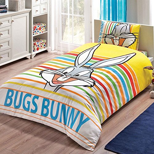 Bekata Bugs Bunny Bedding Set, Single/Twin Size Kids Quilt/Duvet Cover Set with Fitted Sheet, Made in Turkey (3 PCS)