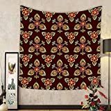 Gzhihine Custom tapestry Antique Tapestry Classical Floral Arabesque Islamic Pattern in Vibrant Colors Artsy Image for Bedroom Living Room Dorm Gold Chestnut Brown
