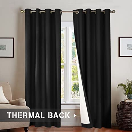 Bedroom Thermal Blackout Curtains, Energy Saving Lined Drapes For Living  Room 84 Inch Length,