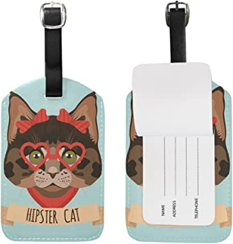 Fashion Address tag Cartoon,Colored Cats with Hats Label Travel Accessories