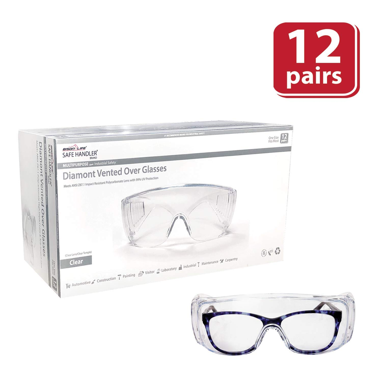 SAFE HANDLER Diamont Vented Over Glasses 12 PAIRS | Meets ANSI Z87.1, Impact Resistant Polycarbonate Lens, 99% UV Protection (1 box/12 Pairs) by Safe Handler