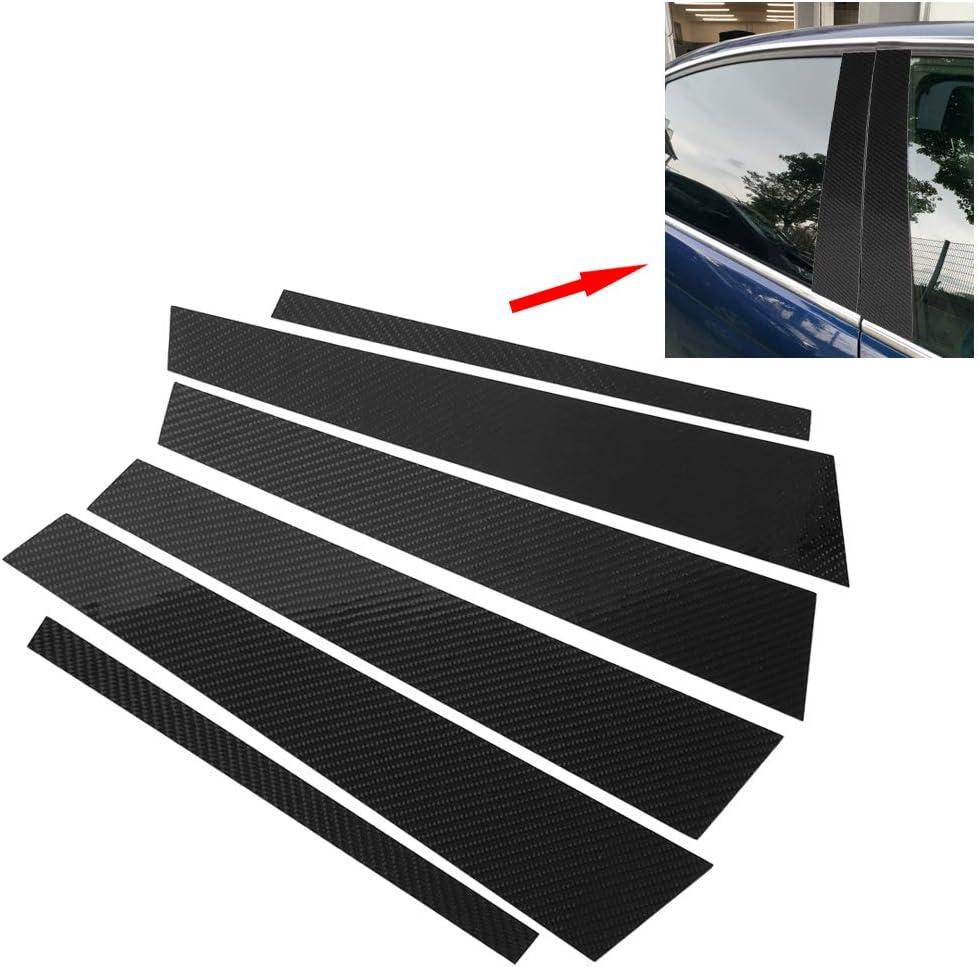 Yctze Carbon Fiber Car Window B-pillars Trim Cover,Piano Black Pillar Post Trim Cover Sticker for 5 Series E60 2004-2010 6PCS