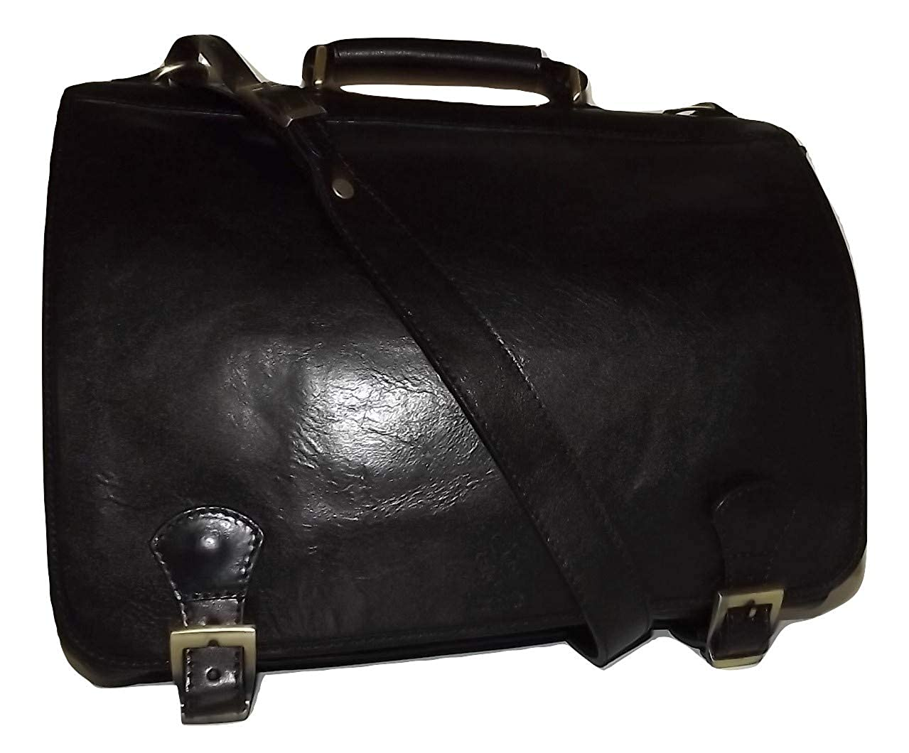 Baglioni Italia Florentine Leather Front Flap Double Gusset Briefcase Black