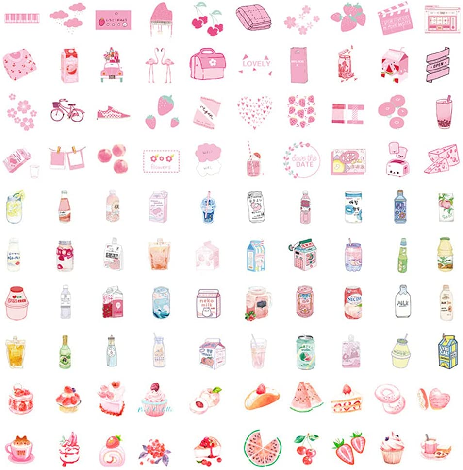 150PCS Journaling Decorative Sticker Pink Kawaii Washi Sticker Cute Sticker Food Cake Drink Sticker Lovely Scrapbooking Letter Stationery Planner Diary Albums Personalize DIY Paper Crafts Decoration