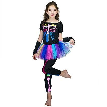 SEA HARE Disfraz de Halloween Disfraz de Esqueleto arcoíris para niña (10-12 años)