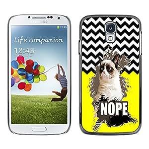 - Chevron Grumpy Cat - - Monedero pared Design Premium cuero del tir¨®n magn¨¦tico delgado del caso de la cubierta pata de ca FOR Samsung Galaxy S4 i9500 i9508 i959 Funny House