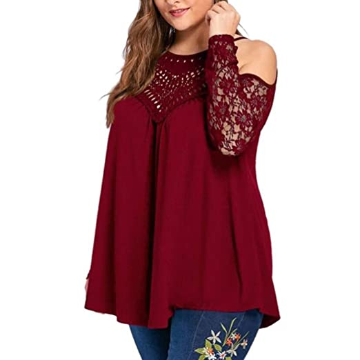 cfb92fcddff Image Unavailable. Image not available for. Color  Kangma Women Sexy  Strapless Plus Size Lace Long Sleeve T-Shirt Blouse Tunics Red