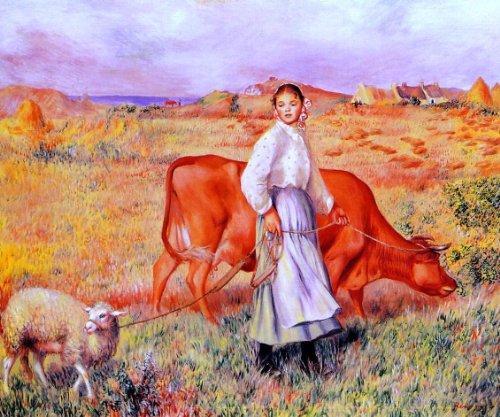 Pierre Auguste Renoir Shepherdess, Cow and Ewe - 20.1