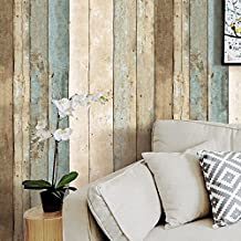 "HaokHome 205 Vintage Wood Wallpaper Rolls Blue/Beige/Brown Wooden Plank Murals Home Kitchen Bathroom Decoration 20.8"" x 393.7"""