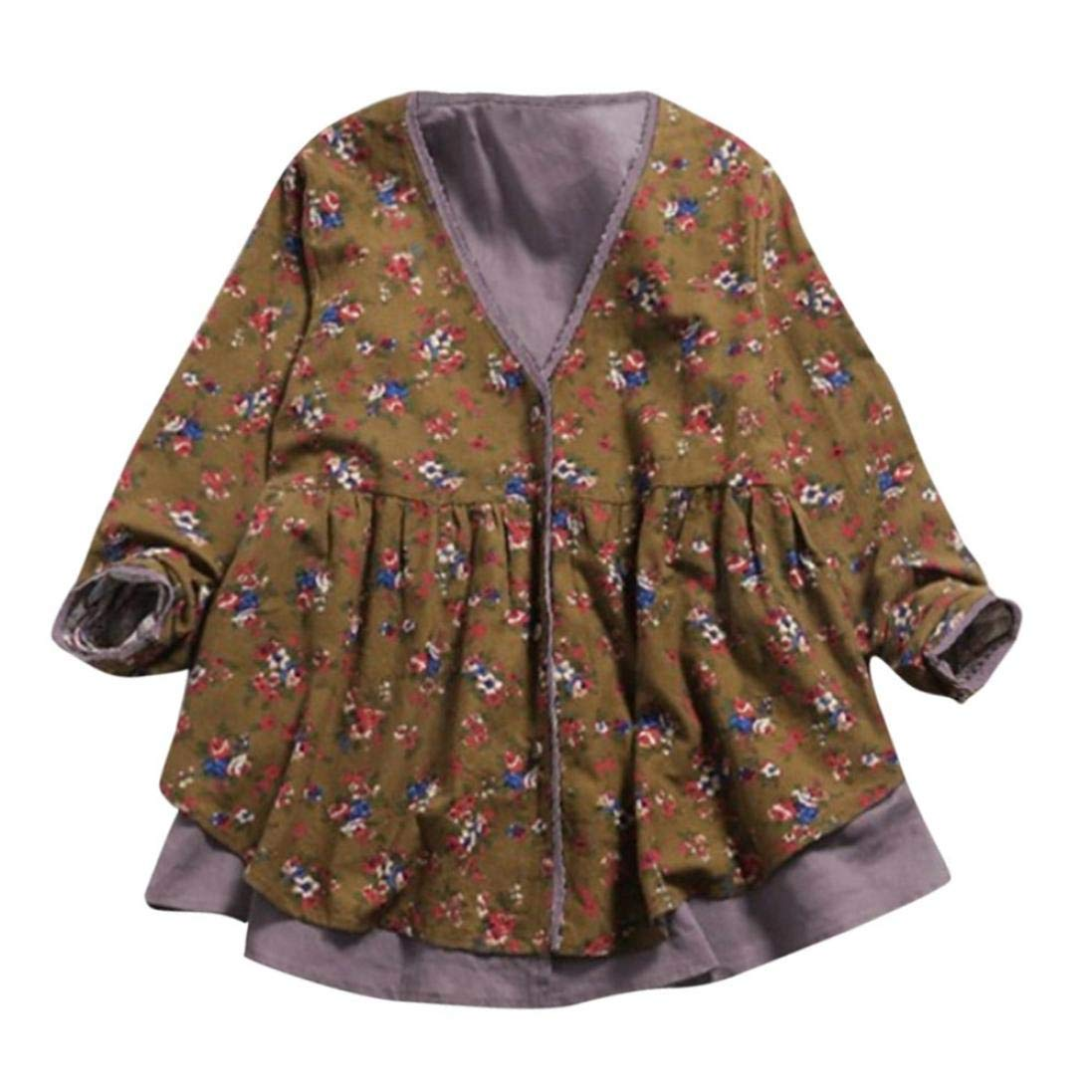 Hem Henleys Tops, Clearance Duseedik Women Cotton Linen Print Double-Layer Fake Two Pieces Loose V Neck Coat Blouse