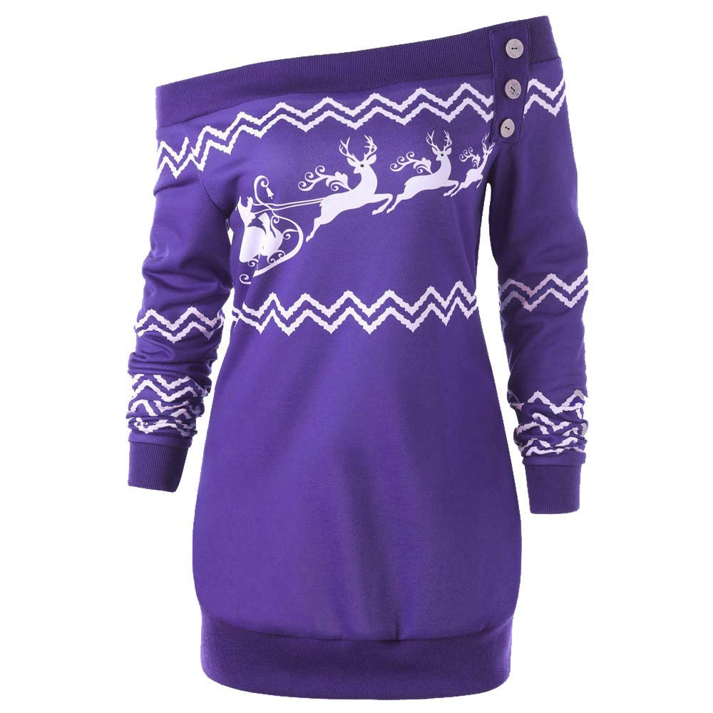 NPRADLA New 2018 Womens Merry Christmas Plus Size Pullover Deer Elk Printed Skew Neck Sweatshirt Tops