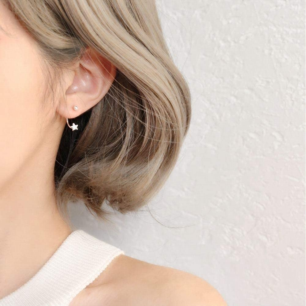 Ling Studs Earrings Hypoallergenic Cartilage Ear Piercing Star five-pointed star silver beads S925 silver earrings earrings earrings hanging female