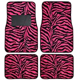 zebra pink car accessories - A Set of 4 Universal Fit Safari Animal Print Carpet Floor Mats - Hot Pink Zebra