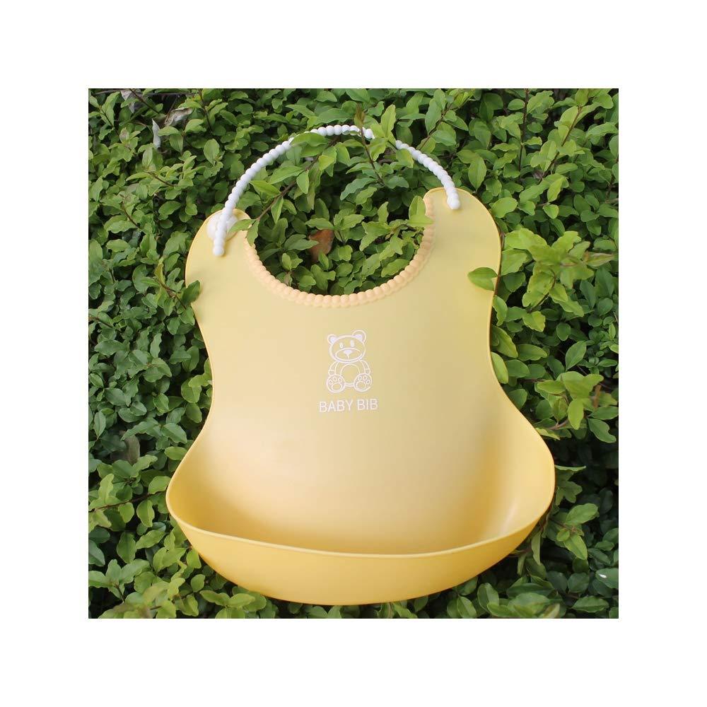 LIUXIQUAN 2 Pieces Waterproof Silicone Baby Bib Washable Soft SiliconeEasy to Clea Waterproof Saliva Dripping Bibs,Yellow