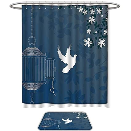 QINYAN Home Print Bathroom Rugs Shower Curtain Romantic French Style Love Theme Bird Cage And