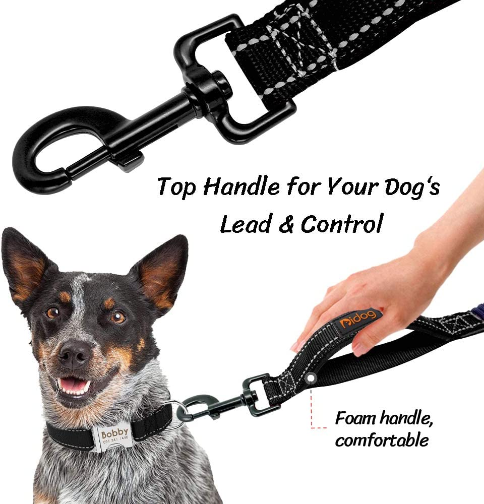 Didog Dog Train Leash with Double Padded Handles,Reflective Dog Walking Leash with Anti-Pull Bungee for Shock Absorption,Medium /& Large Dogs Outdoor Use,Black 3ft-4.3ft