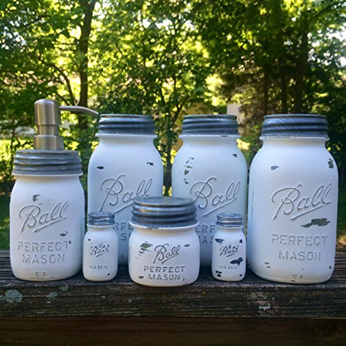 White Mason Jar Canister Set, White Kitchen Canister Set with Soap Dispenser, Vintage Ball Perfect Mason Jars, Rustic White Farmhouse Decor