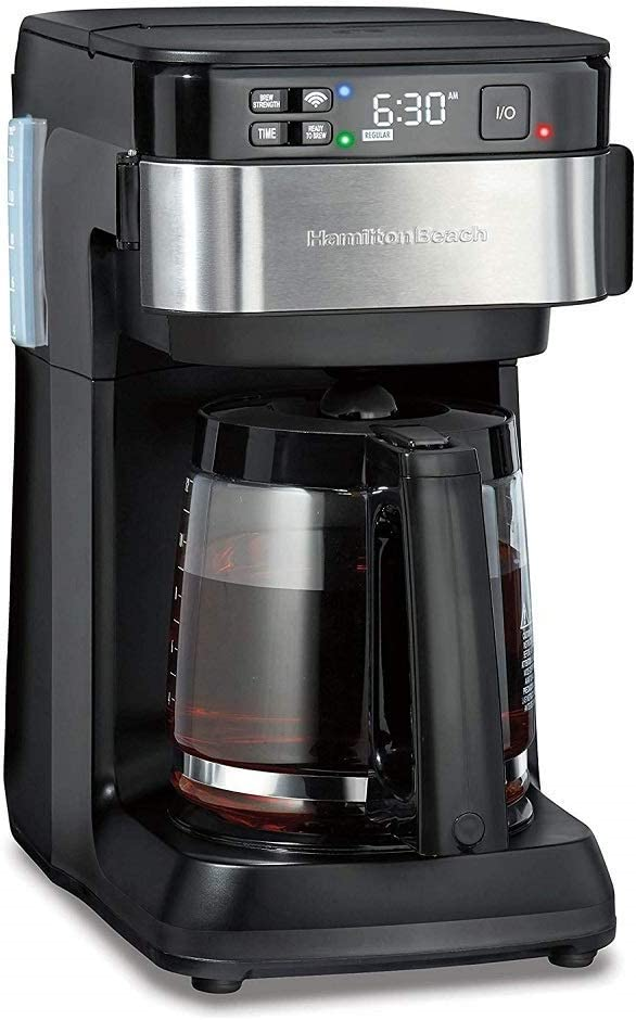 Hamilton Beach Works with Alexa Smart Coffee Maker, Programmable, 12 Cup Capacity, Black and Stainless Steel (49350) – A Certified for Humans Device (Renewed)