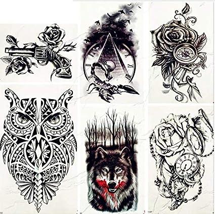ruofengpuzi Adesivo tatuaggioModa para Mujer Pecho Negro Arte del ...