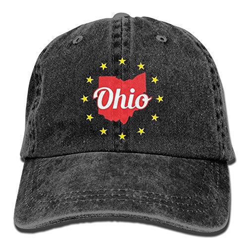 (Ohio Cleveland and Stars Unisex Baseball Cap Cotton Denim Adjustable Golf Caps for Men Women)