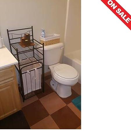 Torre de almacenamiento de baño con cesta pequeño suelo estante de ...