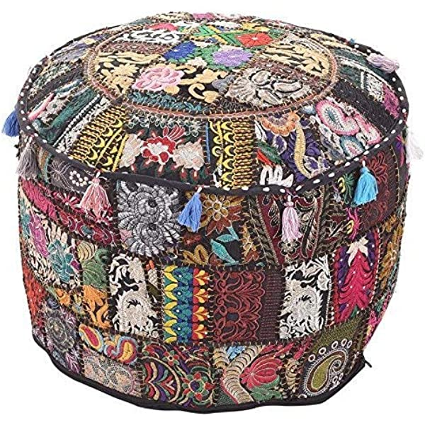 Amazon.com: Indian Traditional Black Ottoman Pouf Cover Black