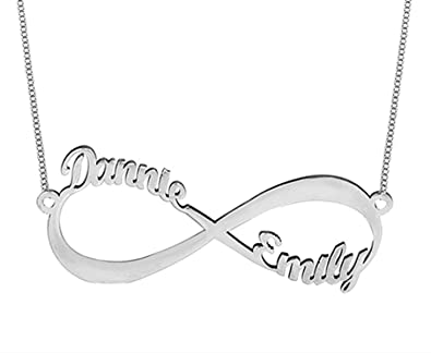 with necklaces silver infinity personalize double en personalized names name necklace
