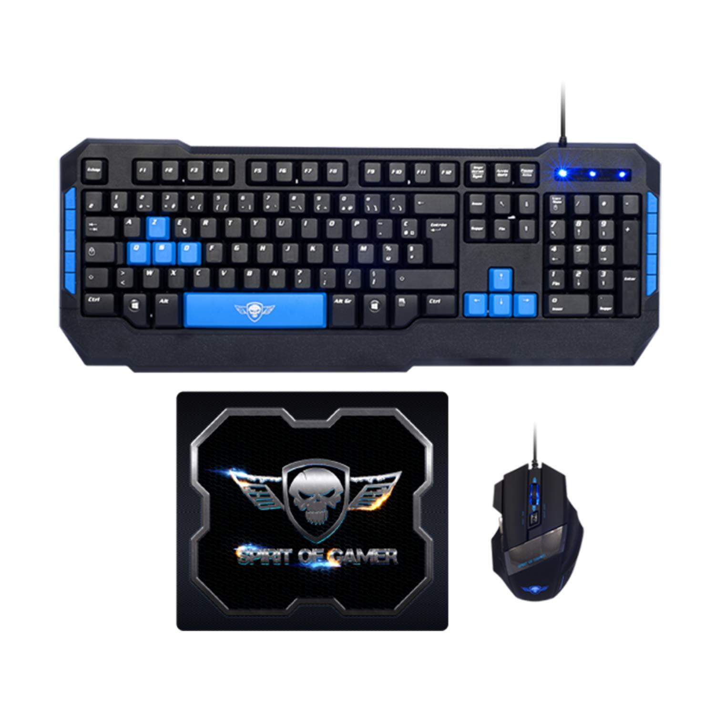 Souris et Tapis Pro-MK6 Spirit of Gamer 2400 dpi Pack Gaming Clavier USB