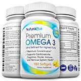 Premium Omega 3 - 180 Triple Strength Pills - 800mg EPA + 600mg DHA Essential Fatty Acids - Ultimate Natural Pharmaceutical Grade Fish Oil - Lemon Flavored & Burpless Moleculary Distilled