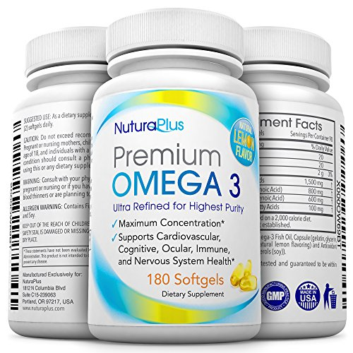 Premium Omega 3 - 180 Triple Strength Pills - 800mg EPA + 600mg DHA Essential Fatty Acids - Ultimate Natural Pharmaceutical Grade Fish Oil - Lemon Flavored & Burpless Moleculary (High Potency Natural Salmon Oil)