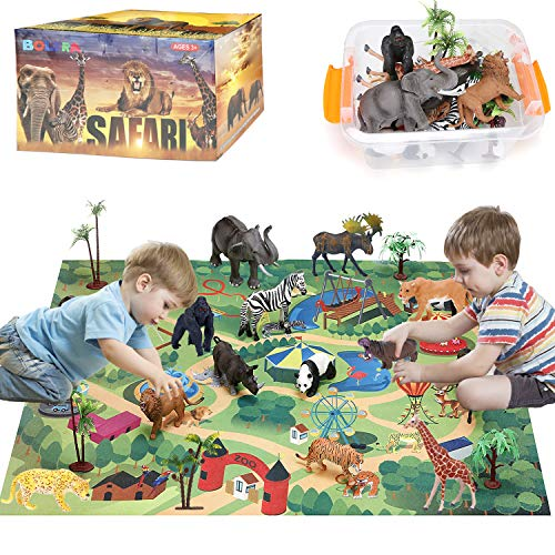 BOLZRA Safari Animals Figurines Toys with Activity Play Mat & Trees, Realistic Plastic Jungle Wild Zoo Animals Figures Playset with Elephant, Giraffe, Lion, Gorilla for Kids, Boys & Girls, 22 Piece