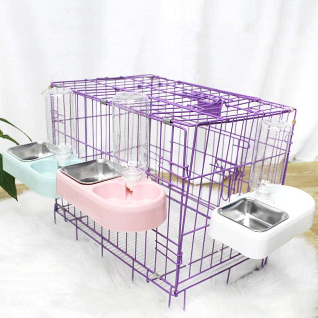 WINJEE Set da Appendere per Gatti Doppio Contenitore per Acqua per Alimenti Dispenser Automatico per Acqua per Animali Domestici Rosa
