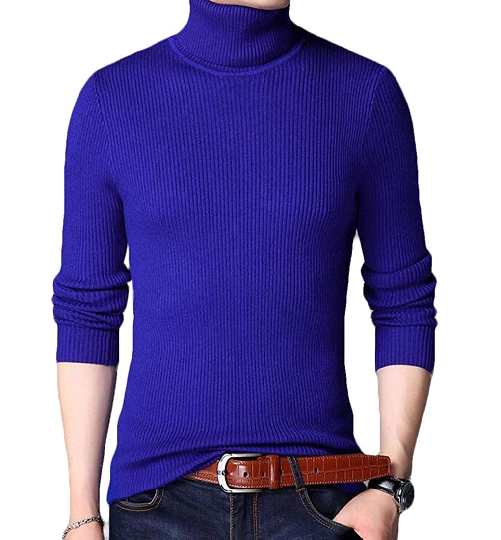 BYWX Men Winter Turtle Neck Thick Relaxed Knit Pullover Sweaters