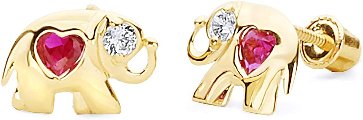3 Different Color Available 14k Yellow Gold Journey Heart Stud Earrings with Screw Back