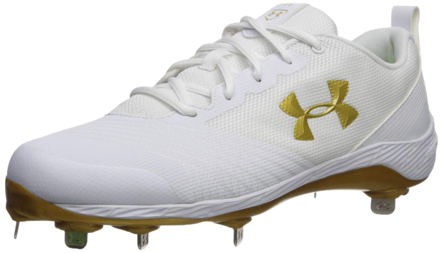 Under Armour Women's Glyde ST Softball Shoe, White (101)/Metallic Gold, 11.5 M US by Under Armour