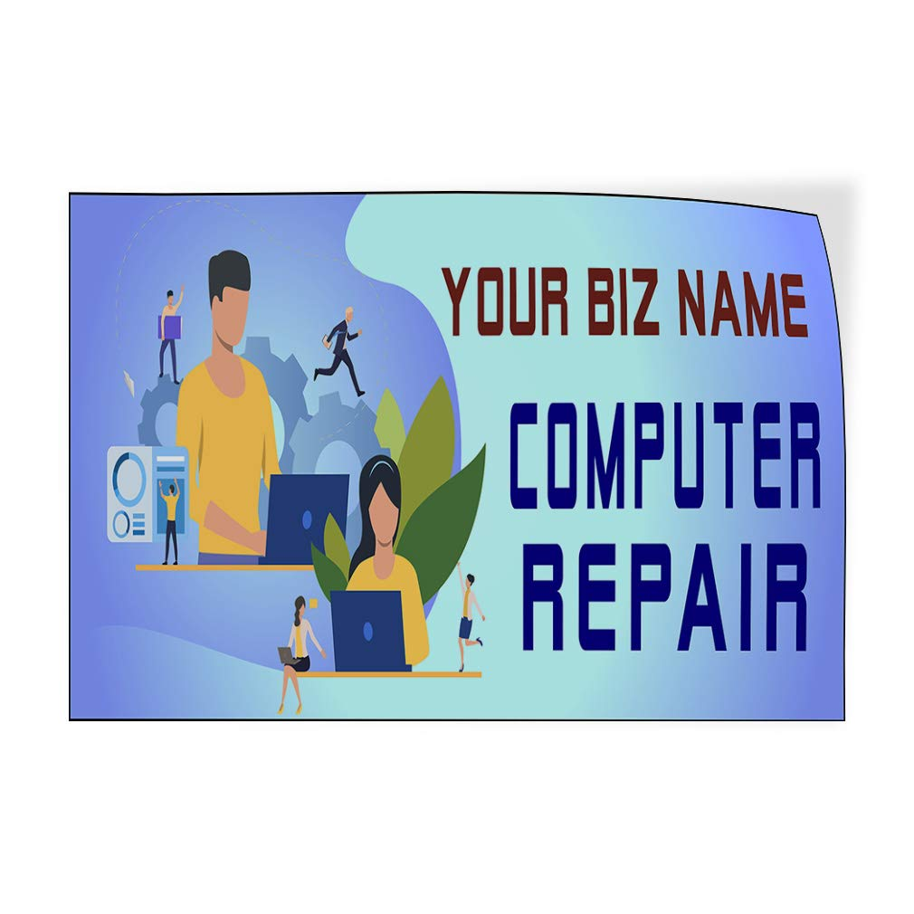 Custom Door Decals Vinyl Stickers Multiple Sizes Business Name Computer Repair Blue Business Computer Outdoor Luggage /& Bumper Stickers for Cars Blue 27X18Inches Set of 5