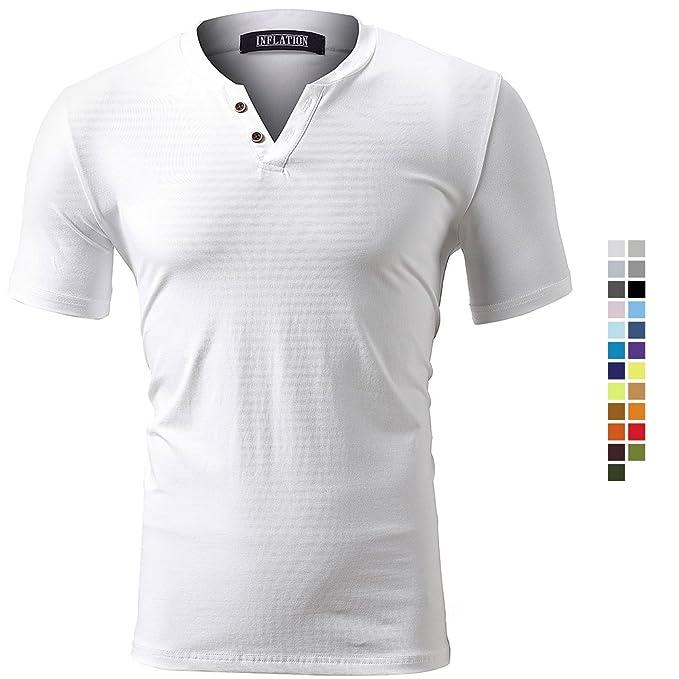 Harrms Camiseta Elástica de Hombre, Manga Corta, Cuello de Pico, Camiseta Deportiva para Hombre, Colores Múltiples para Elegir