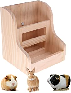 Rabbit Hay Feeder 2 in 1 Wooden Food Manger for Bunny Guinea Pig Chinchilla Small Animals