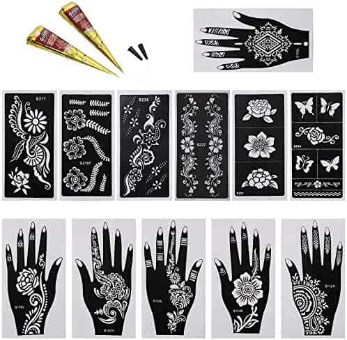 BMC 14pc Mehndi Henna Tattoo Body Art Starter Kit - 2 Color Cones w/ 12 Template Stencils