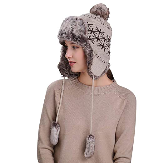Image Unavailable. Image not available for. Color  kemilove Warm Women  Winter Hat with Ear Flaps ... 888c11ee71c