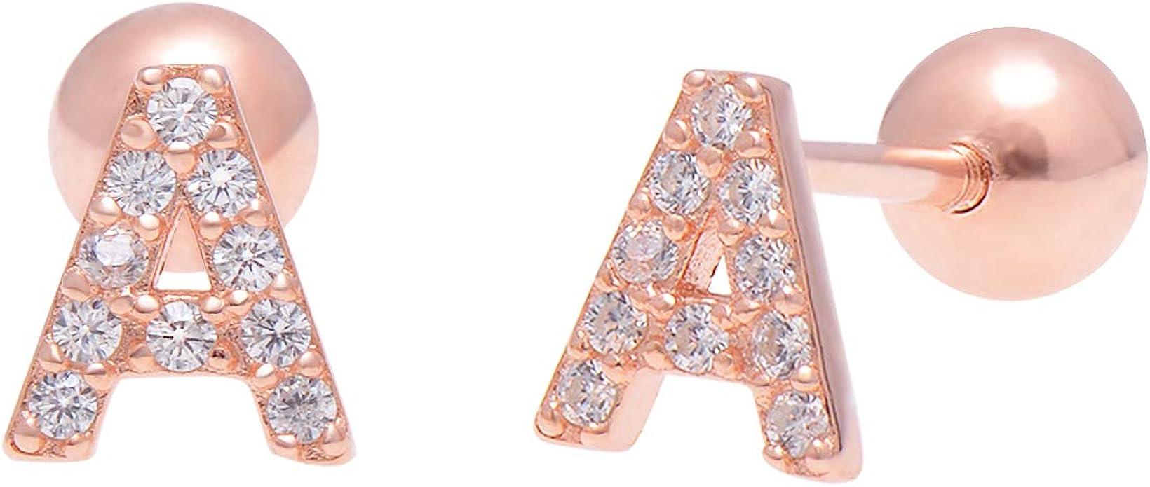 5mm 18K White Gold Flower with Pink Zz Screwback earrings