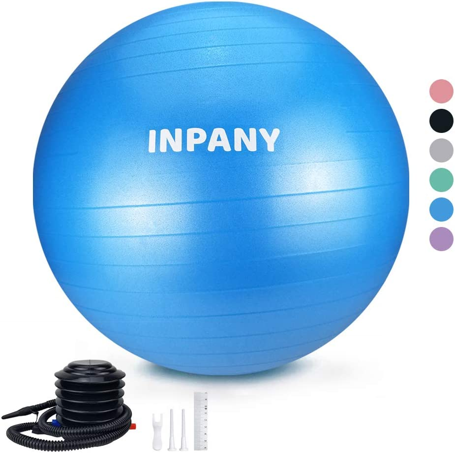 Inpany Exercise Ball(45-85cm) - Extra Thick Yoga Ball Chair, Anti-Burst Stability Ball Supports 2200lbs,Birthing Ball with Quick Pump for Office & Home & Gym
