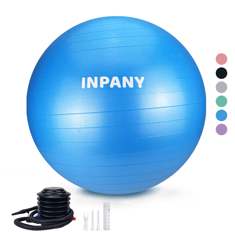 Inpany Exercise Ball 45-85cm – Extra Thick Yoga Ball Chair, Anti-Burst Stability Ball Supports 2200lbs,Birthing Ball with Quick Pump for Office Home Gym