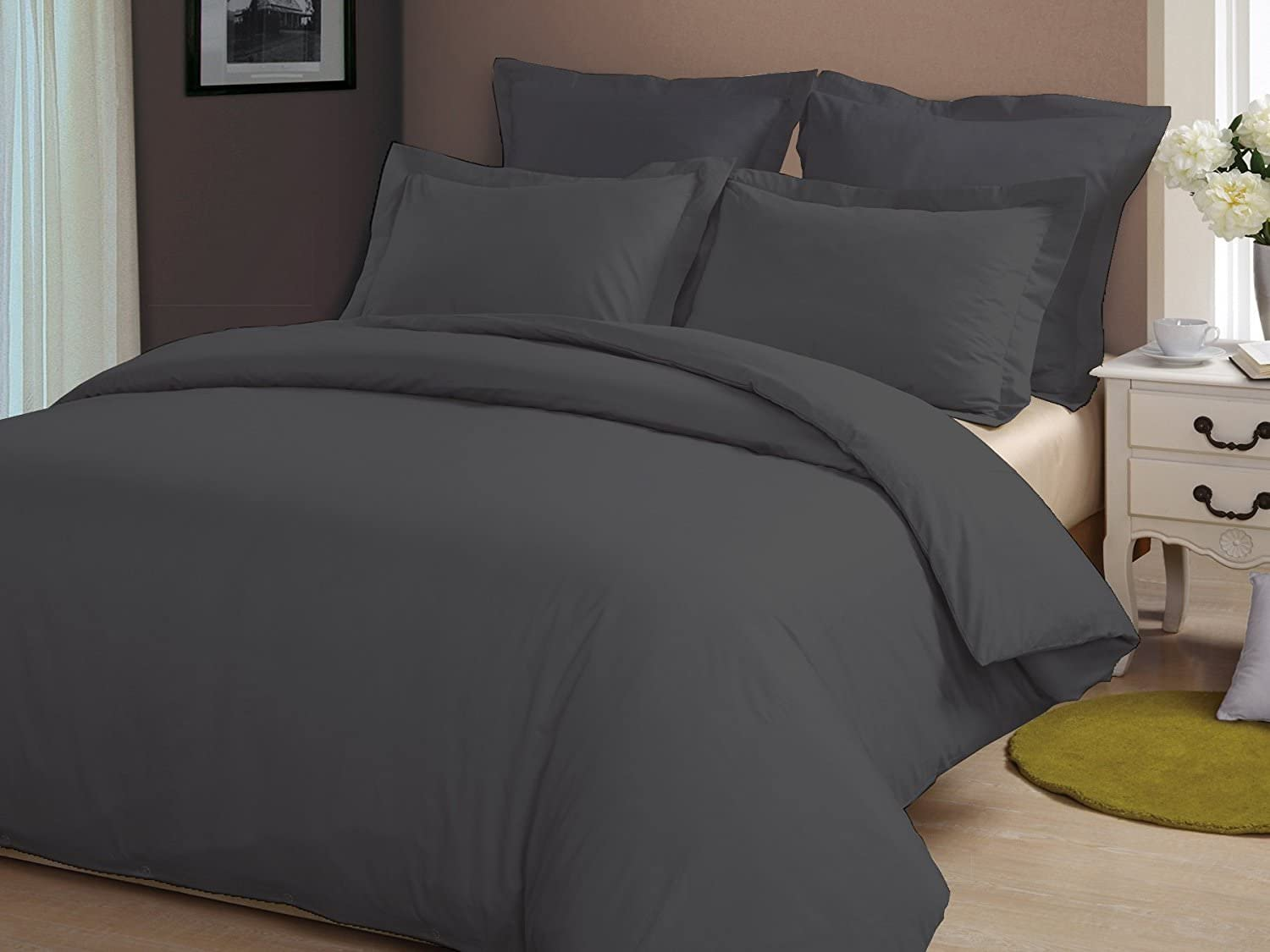 Soft Hypoallergenic Size 90 x 90 Inch Whitecottonworld Hotel Luxury Egyptian Cotton 800 Thread Count Zipper Closer 1-Pieces Duvet Cover with Corner Ties White Solid Full//Queen