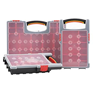 High Quality Stackable Multi Compartment Removable Assortment Organiser / Storage / Tool Box Holder (Set of 3)