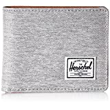 Herschel Supply Co. Men's Hank RFID Blocking Wallet, Light Grey Crosshatch/Tan Synthetic Leather