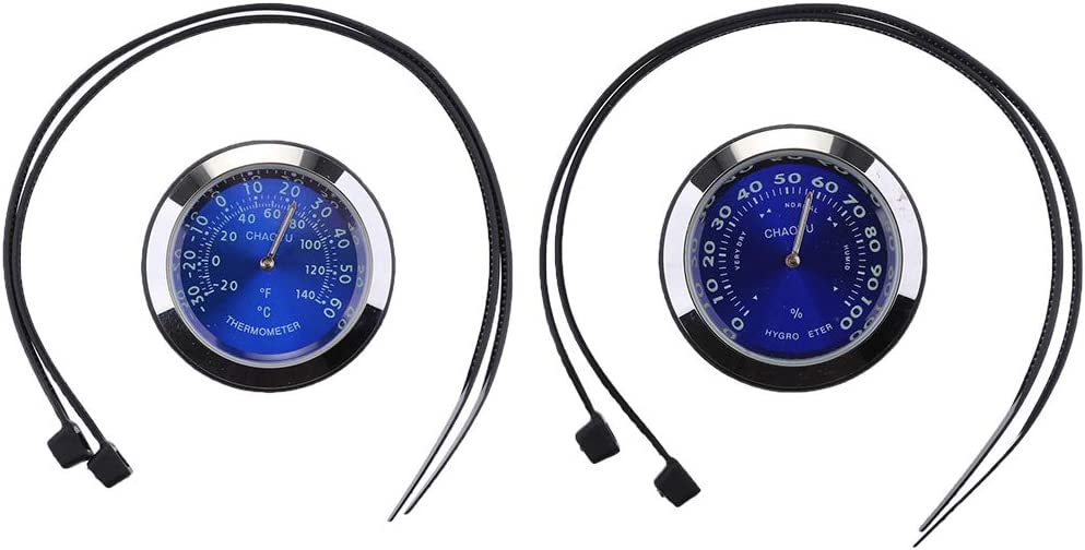 Waterproof Motorcycle Handlebar TEM Temperature Gauge Thermometer Hygrometer Meter Blue