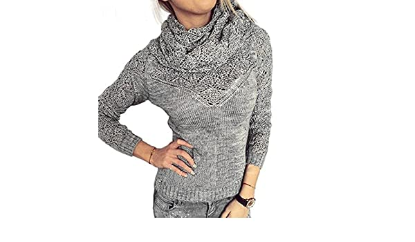 Amazon.com  Naomiky Pretty Hot Sales New Women Autumn Winter O-Neck Two  Piece Set Sweaters With Muffler Warm Long Sleeve Casual Knitted Pullover  Clothing 02 ... 24577a8c4