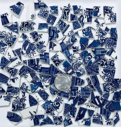 100+ Mosaic Tile Art Supply for Mosaics & Crafts ~Blue Willow Pattern Tiles (T#478) ()